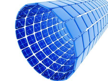 A tube made of three dimensional blue tiles. Banco de Imagens
