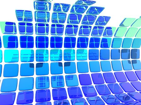 Abstract illustration of a wave made from blue tiles