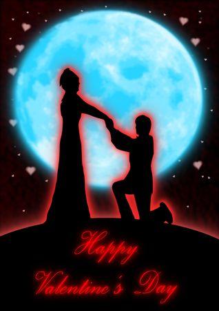 Een man op één knie knielen en stelt voor een blauwe maan.