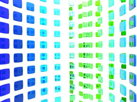 Abstract illustration of a curved wall made of blue and green tiles. Stock fotó