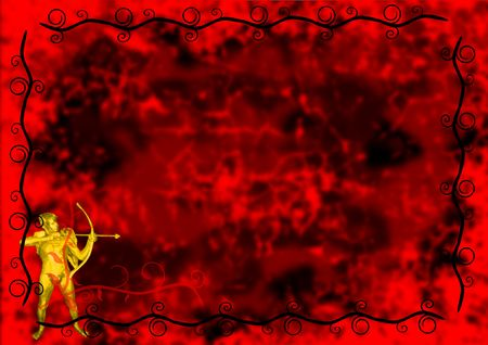 A golden cupid on a passionate red background with copy space.