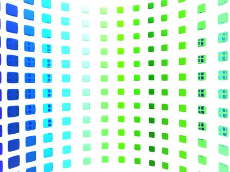 Abstract illustration of a curved wall made of blue and green tiles. Banco de Imagens