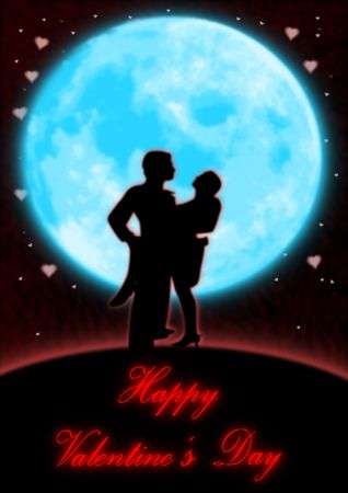 A couple dancing in front of a full blue moon and heart shaped stars.