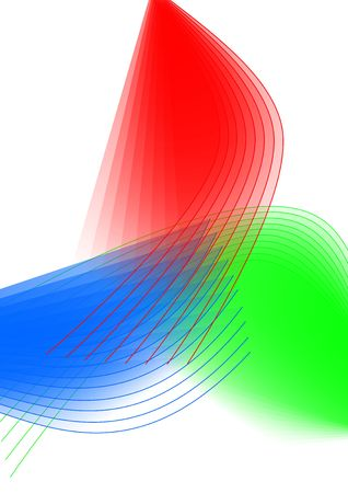 Abstract illustration of transparent red, green, and blue lines and shapes. Stok Fotoğraf