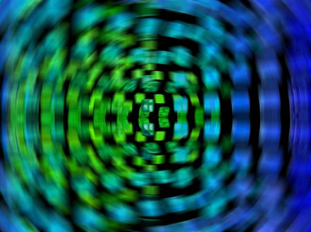 A motion blur of blue and green tiles on a black background.