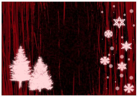 Christmas illustration of glowing red snowflakes and trees. 版權商用圖片