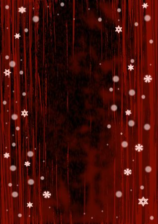 Christmas illustration of glowing red snowflakes.