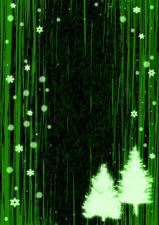 Abstract Christmas tree illustration on an green background.
