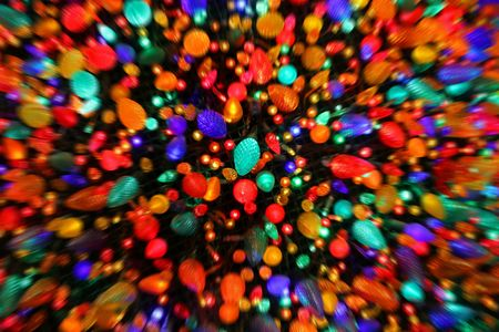 bunched: Christmas lights bunched together with a zoom blur. Stock Photo