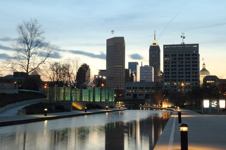 indianapolis: Cityscape with Canal looking east before sunrise.