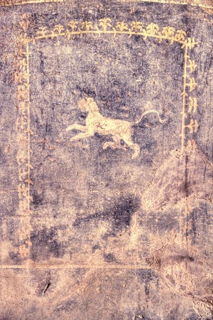 deatil: Deatil color image of a fresco from the ancient city of Pompeii.