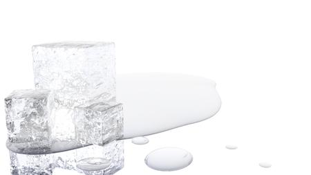 A 3D illustration of a melting ice cube with a white background. Banco de Imagens