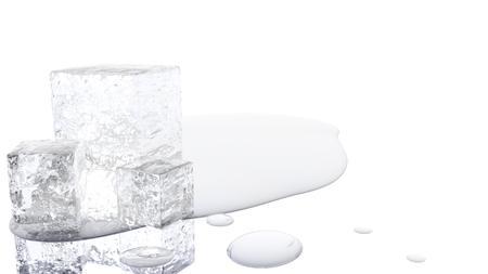 Una ilustración 3D de un cubo de hielo de fusión con un fondo blanco. Foto de archivo - 89912407