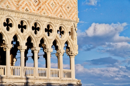 Detail of the Doge's palace in Venice, Italy