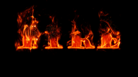 Illustration of the word FIRE in flames. Imagens
