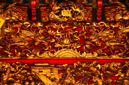 Close up image of details in a Chinese temple.