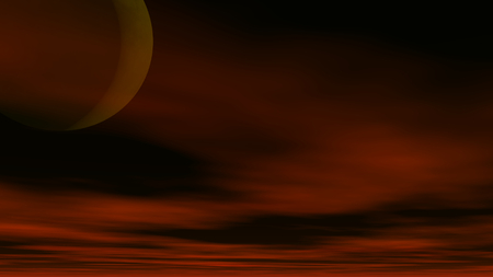 A 3D illustration of a cloudy sky with a crescent moon.