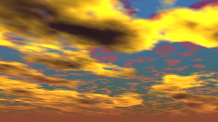 A 3D illustration of a cloudy sky during sunset.