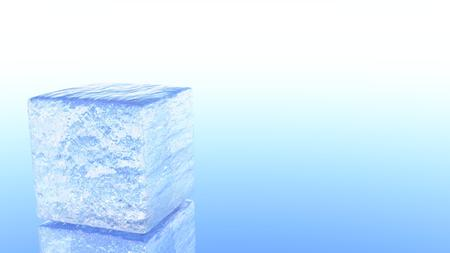 A 3D illustration of a melting ice cube with a blue and white background. Imagens - 90844391