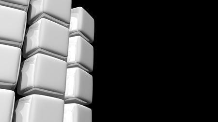 흰색 큐브 부분적으로 곡선의 추상적 인 배경 3D 일러스트 레이 션.