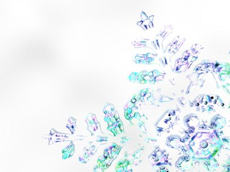 A winter or Christmas background 3D illustration featuring a snowflake
