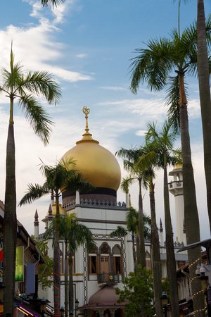 Daytime image of the Sultan Mosque in Singapore in the Little Arabia district.
