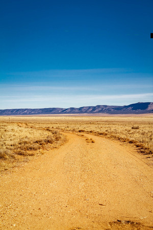 A dirt road in the desert that curves as it moves away from the viewer.