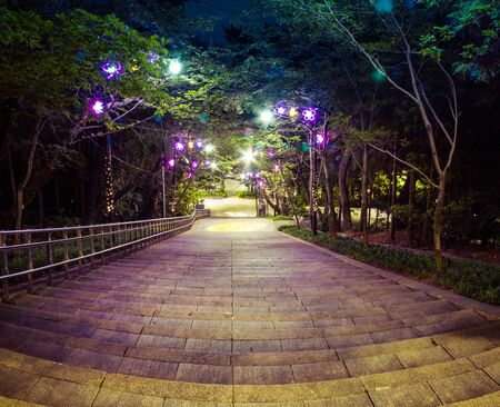 A nighttime view of looking down stairs in Jewangsan Park in Chinhae, Shouth Korea.