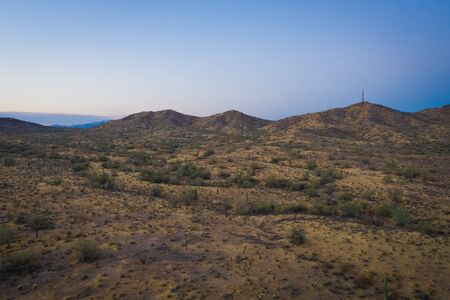 Drone image taken during the golden hour at sunset of the Sonoran Preserve north of Phoenix, Arizona.