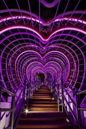 A stairway leading through a tunnel of hearts in Jewangsan Park in Chinhae, South Korea