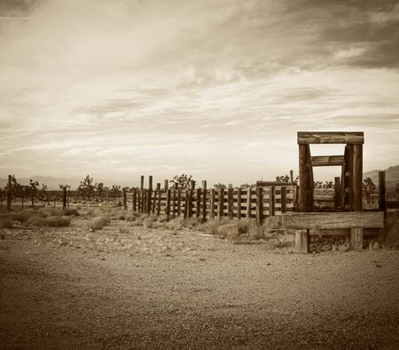 Old western corral in the desert of Arizona in late afternoon light. Stok Fotoğraf
