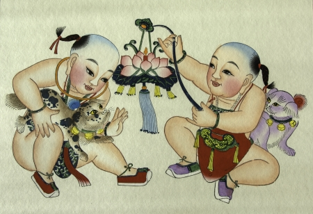 The traditional chinese peasant painting showing happiness and rich. photo