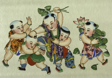 china watercolor paint: The traditional chinese peasant painting showing happiness and rich.