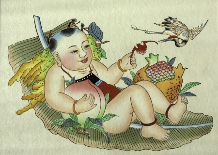 The traditional chinese peasant painting showing happiness and rich.