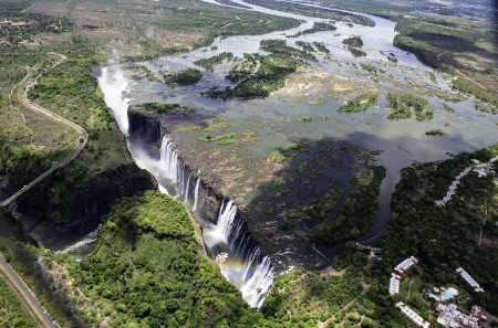 zambezi: The Victoria Falls from air in Zimbabwe. Stock Photo