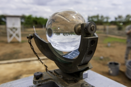 meteorological: A traditional sunshine recorder in Morogoro meteorological observation station of Tanzania.