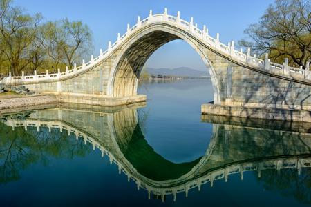 The jade belt bridge of Summer Palace under the morning sunshine. Stock Photo