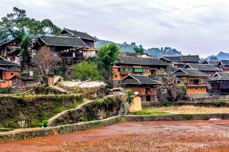 country house: A typical traditional miao village in Guizhou Miao ethnic minority.