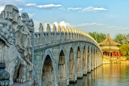 kunming: The Famous 17 arch lion bridge in Summer Palace outside of Beijing, China.