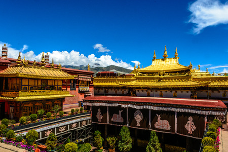 buddhist temple roof: The Jokhang Temple in Lhasa, Tibet of China under the morning sunshine.