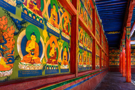potala: the Gallery of the Potala Palace in Lhasa, Tibet under the morning sunshine.