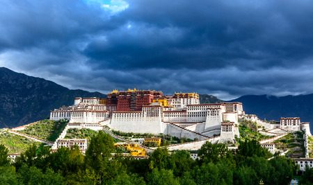 the Potala Palace in Lhasa, Tibet under the morning sunshine.