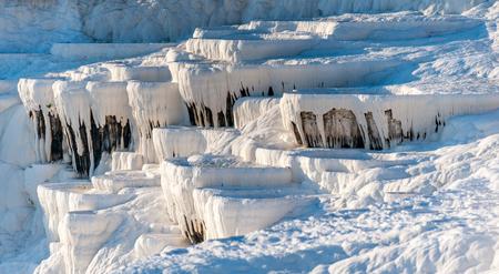 pamukkale: Natural travertine terraces at Pamukkale ,Turkey. Pamukkale, meaning cotton castle in Turkish.