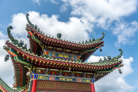 buddism: the Jintai temple under the white cloudy in Doumen of Guangdong province, China.