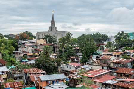 lds: The Church of Christ of Latter-day Saints Temple around citizens houses in Cebu of the Philippines. Stock Photo