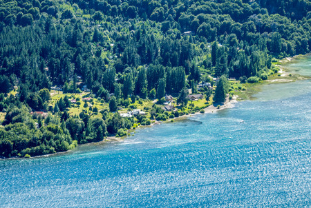 A birds eye view of the Lake Nahuel Huapi in Bariloche, Argentina.