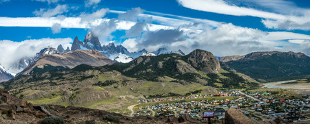 The bird eye view of the El Chalten with the background of Fitz Roy which is a village within Los Glaciares National Park in Argentina Santa Cruz province.
