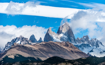 Fitz Roy is a mountain located near El Chalten village, in the Southern Patagonian Ice Field in Patagonia, on the border between Argentina and Chile. Stock Photo