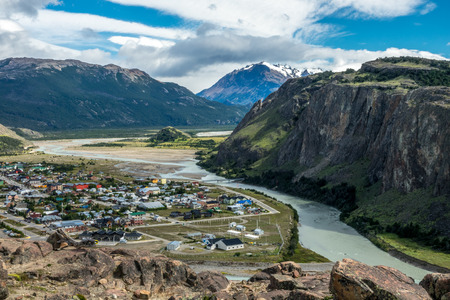 The bird eye view of the El Chalten which is a village within Los Glaciares National Park in Argentina Santa Cruz province. Stock Photo