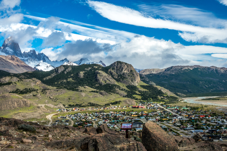 The bird eye view of the El Chalten which is a village within Los Glaciares National Park in Argentina Santa Cruz province. Editorial